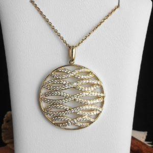 Goldanhänger mit Zirkonia und Goldkette