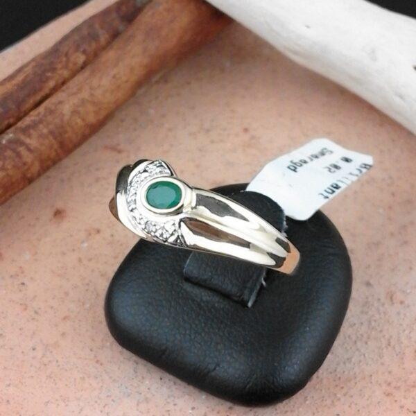 Gelbgold Ring mit Smaragd und Brillanten