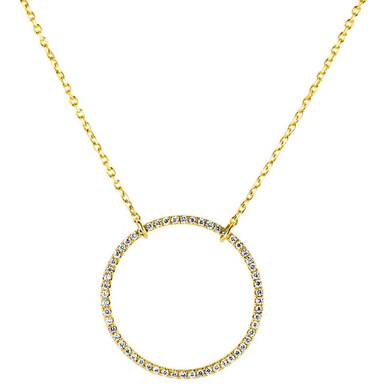 """Collier 750 Gelbgold """"Kreis"""", 56 Brillanten 0,32 ct"""