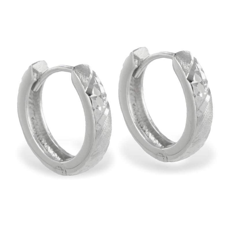 lovejewel Klappcreolen 14/3mm diamantiert Silber 925/000